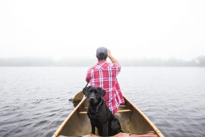 Dog with man sailing out